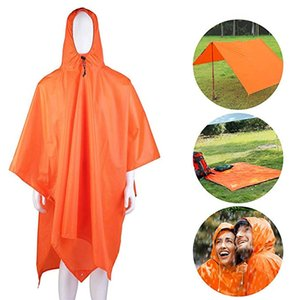 Wholesale Free DHL in Raincoat Backpack Rain Cover Rain Coat Hood Hiking Cycling Rain Cover Poncho Waterproof Outdoor Camping Tent Mat M409F