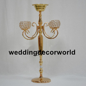 Wholesale wedding glass candelabra resale online - New style H84cm central glass table Bling gold candlestick wedding Candelabra flower vase road lead flower rack party decoration decor373