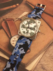 Hot Outdoor New Style Square Silver Steel Case Simple Mens Watch Automatic Men Wrist Watches Camouflag Dial With Wide Blue Rubber Strap