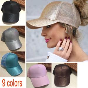 673da93d043e5 Wholesale Glitter Ponytail Baseball Cap Women Snapback Dad Hat Mesh Trucker  Caps Messy Bun Summer Hat