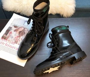 2019 spring fall Womens black real leather with Mixed Colors Fabric canvas luxury combat ankle booties lace up biker Military Boots