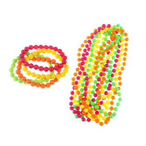 Wholesale 4 Set Neon Bead Bracelets Necklace Woman Bachelorette Party Decor s amp s Party