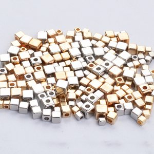 Wholesale High Quality Plastic CCB Beads Gold Rhodium Square shape Plated Loose Spacer Beads For Necklace Bracelet Jewelry Making