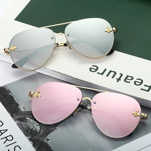 Wholesale 2019 Hot Sale Luxury Little Bee Designer Sunglasses For Women And Men Metal Pilot Frame Mirror Lenses Colors Free Shipment