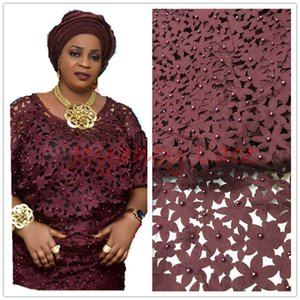 African Lace Fabric 5yds pce By Dhl Laser Cut With Stones For Women Party Dresses 2017 New Arrival High Quality Nigerian Fabrics J190722