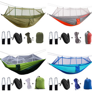 Single & Double Camping Hammock with Mosquito Bug Net Lightweight Portable Parachute Nylon Tree Straps and Carabiners for Hiking Travel