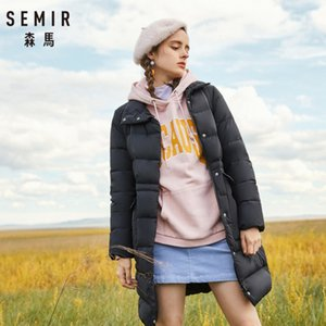 Wholesale SEMIR Women Long Down Stand up Collar Coat with Snap Pocket Zip and Snap Closure Down Filling Puffer Coat Silky Polyester Lined