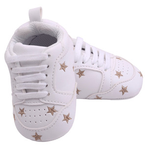 Wholesale 2019 Baby Shoes Newborn Boys Girls Heart Star Pattern First Walkers Kids Toddlers Lace Up PU Sneakers Months