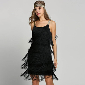 Vintage Vestido 1920s Flapper Girl Fancy Dress Great Gatsby Dress Costumes Slash Neck Tiered Fringe Swing Party Headband