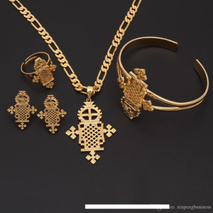 Wholesale 2017 New Arrival Ethiopian Jewelry Sets k Yellow Real Solid Gold GF Ring Necklace bracelet African Ethiopian Eritrean Habesha