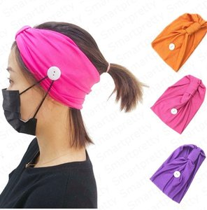 Wholesale hood with face mask resale online - Trendy Women Girls Headband Solid Color Sport Gym Knit Hood Hair Band With Button Wearable Face Mask Yoga Sweat Absorbing Hairlace Hot E4911
