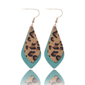 Wholesale New Arrival Printing Leopard drops earrings Autumn Winter Double layers leaf real leather drop earrings for women gift