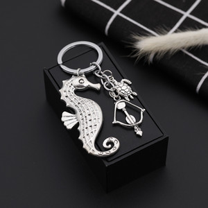 Wholesale New Punk Sea horse turtle KeyChains Charms key rings Fashion Women Purse Jewelry Keyholder