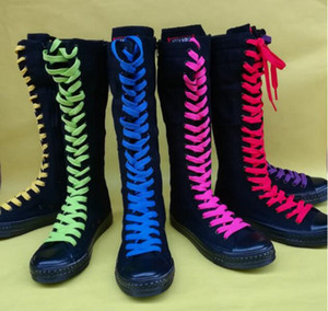Women High-top high-length long dance dance rubber boots casual canvas side zipper lace-up Large size sexy tie with multi-color laces boots