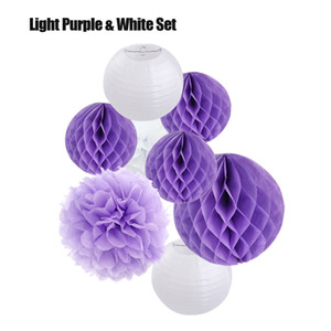 Wholesale tissue honeycomb balls resale online - 8pcs set inch Round Hanging Paper Ball Lanterns cm Honeycomb Tissue Pom Pom for Summer Theme Birthday Wedding Party Decoration