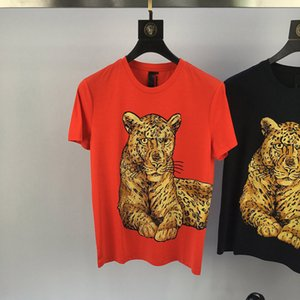 Wholesale 2019 new fahison ss new fashion arrival leopard tiger diamond print embroidery tee t shirt short sleeve cotton for men