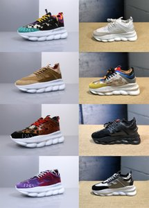 Wholesale 2019 New Top Quality Chain Reaction Luxury white Mens Womens District Medusa LUX Link Embossed Sole Casual Shoes Trainer