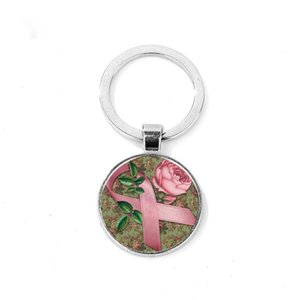 Wholesale Simple Garden Style Cute Pink Ribbon Keychain Breast Cancer Awareness Round Crystal Glass Cabochon Key Ring Sleutelhanger