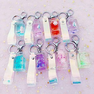 Wholesale Fashion Dried flower unicorn milk acrylic Keychain Moving Liquid oil Keyring Decompression Key Chain drift bottle Best Gift