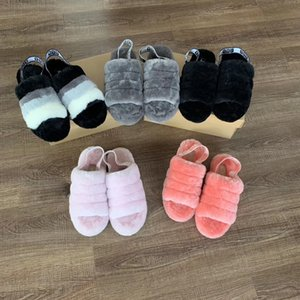Wholesale Luxury Designer Women Sandals Furry Slides Fur Slippers With Flat Flat Wool Slippers Furry Impression Cherry Powder Yeah Boots Eur