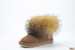 Wholesale leather real big fox fur short ankle women winter snow boots for women winter shoes black brown non slip sole