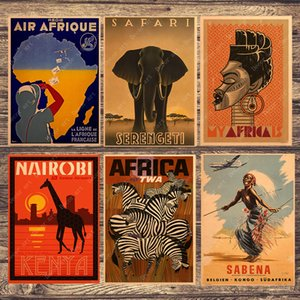 Wholesale Zebra Giraffe Travel South Africa Canvas Painting Vintage Wall Pictures Kraft Posters Coated Wall Stickers Home Decoration Gift