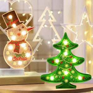 Wholesale DIY LED Diamond Painting Night Light Christmas Tree d Crystal Snowman Cross Stitch Embroidery Wedding Desktop Decoration