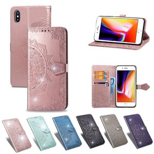 Wholesale Bling Diamond Wallet Leather Cases For Iphone XS MAX Iphone XR X Plus Lace Datura Card Slot Imprint Flower Luxury Phone TPU Flip Cover