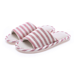 Wholesale Flax Striped Non skid Indoor Slippers Summer Autumn Couples New Korean Style Household Floor Home Shoes Pantuflas Mujer Invierno