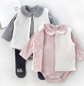 Wholesale 2019 Autumn Baby boys outfits toddler kids stripe doll lapel long sleeve romper single breasted waistcoat sets baby girl clothes F8274