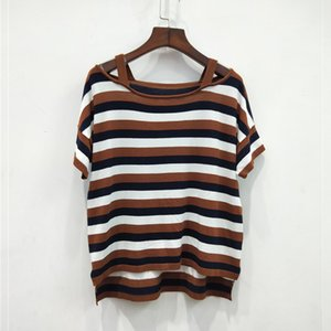 Womens Knit Short Sleeve Trendy Wild Coffee Strapless Striped Fashion Woven Shirt Women