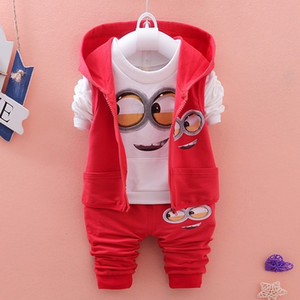 Baby Boys Clothes Set Cartoon Minion Boys Girls Hooded Jacket shirts Pants Suit Baby Kids Children Clothing Bebes Tracksuit V191109 on Sale
