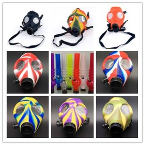 Wholesale Silicone Mask Acrylic Hookahs Smoking Pipe Gas Mask Pipes Acrylic Bongs Tabacco Shisha Metal Plastic Pipe water pipe Gift