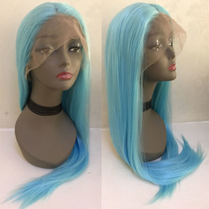 Sky Blue Straight Synthetic Hair Lace Front Wig Glueless Natural Hairline Heat Resistant Fiber Hair For Women Wigs