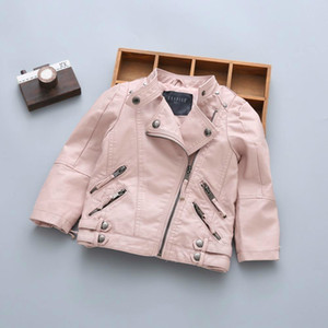 Wholesale girls leather fur jackets resale online - Pu Boys Kids Spring Winter Coats With Fur Leather Jacket Girls Winter Outdoor Jackets Children Strong