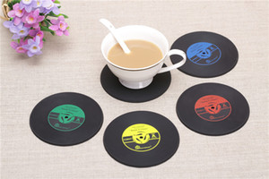tapetes de vinil venda por atacado-4 cores CD criativa Copa Mat Retro Vinyl Coasters antiderrapante Vintage Registro Copa Pad Home Bar Table Decor Coffee Mats