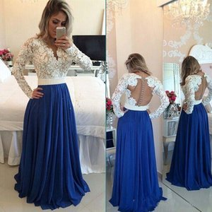 Ivory and Blue Prom Dresses Long Sleeve Lace Appliques V Neck Pearls Floor Length Formal Women Party Dress For Gala Evening Wear on Sale