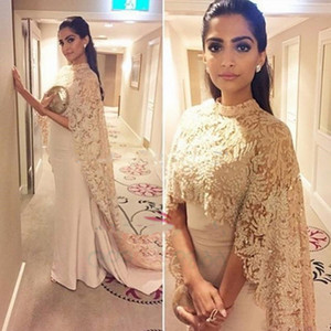 Wholesale Sonam Kapoor in Paolo Sebastian High Neck Dubai Kaftan nude Lace Cape Muslim Evening Dress 2019 Islamic Arabic long sleeve prom Formal Gown
