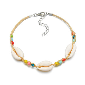 Wholesale 2019 Trendy Beach Multi Color Mini Bead Weave Rope Conch Shell Bracelet Barefoot Sandal Beach Foot Anklet For Women Jewelry