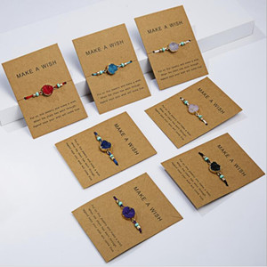 Wholesale 14pcs Make a wish Colorful Woven Natural Stone Paper Card Adjustable Bracelet Lucky Bracelets Woman Simple Fashion Jewelry
