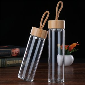Wholesale Transparent Glass Cups Monolayer Bamboos Cover Water Cup Man Woman Home Office With Ropes Waters Bottle Portable bd2 L1