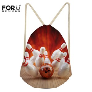Wholesale FORUDESIGNS Bowling Pattern Daily Backpack Sack for Girls Boys Fashion Small Drawstring Bag Lady Travel Shoe Storage Bag String