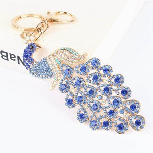 Wholesale 5 Colors Bling Rhinestone Keychains Ethnic Style Colorful Crystal Peacock Keychain Peafowl Keyring Bag Pendant Car Key Chain