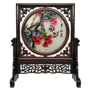 Wholesale decorative wood ornaments for sale - Group buy Free DHL Chinese Decorative Items for Home Living Room Table Ornaments Hand Silk Embroidery Patterns Crafts with Wenge Wood Frame Gifts