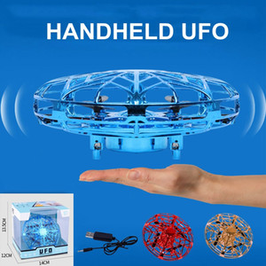Anti-collision LED Flying Helicopter Magic Hand UFO Aircraft Sensing Mini Induction Drone Suspension UFO toys Kids Electric Electronic Toy