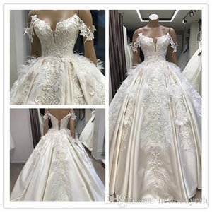 Wholesale Real Photo Ball Gown Satin Modest Wedding Dresses Plus Size zuhair Murad African Wedding Guest Dress Bridal Gowns With Beads Feathers