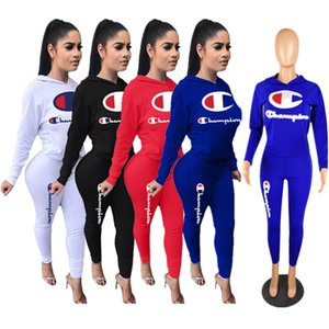 Wholesale Designer Women Tracksuits Champion Letters Two Piece Outfits Hoodies Hooded T shirt Pants Leggings Sweatsuits Autumn Sportswear Cloth C8103