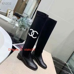 Wholesale 2019 Hot Sale Wedges Knee high Women Boots Pointed Toe Brand Design Mixed Color Leather Chunky Heel Long Boots European Style Fashion Show