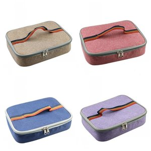 Wholesale Portable Insulated Coolers Lunch Bag Red Khaki Blue Color Fashion Bento Handbags Aluminum Foil Food Containers Practicalty xy E1