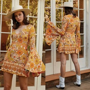 Wholesale Summer Bohemian Short Party Dresses 2020 New Long Sleeve Ruffles A Line V Neck Flora Printed Beach Holiday Dress Bohemain 2773